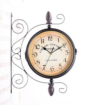 Vintage Wall Mounted Double-Side Design Clock Mute Movement Wall Clock Art Decor