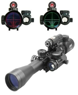 3-9X40 Illuminated Tactical Rifle Scope with Red Laser & Holographic Dot Sight