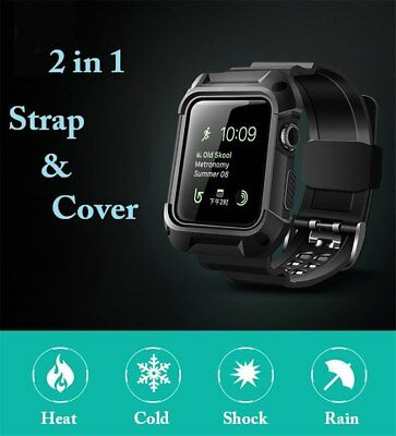Waterproof Rugged Protective Case Strap Bands Apple Watch 1 2 & 3 Series 42mm BK