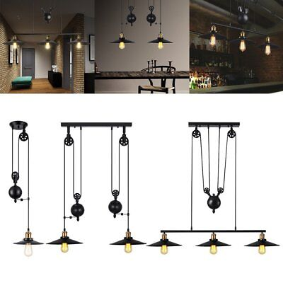 Industrial Retro Vintage Hanging Ceiling Light Pendant Retractable Pulley Lamp X