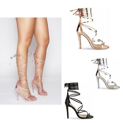 Womens Ladies High Stiletto Heel Strappy Ankle Tie Up Party Sandals Shoes Size