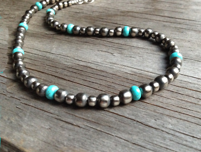 Navajo Pearls Necklace with Turquoise ~ Pearls are  6 & 8mm ~ Style #135