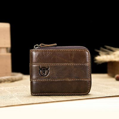 RFID Mens Real Leather Wallet With ID & Card Multi Pocket Gift Zip Around Purse