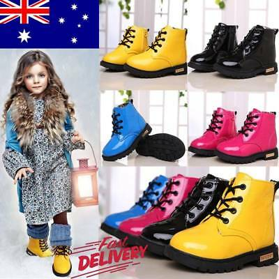 AU Kids Boys Girls Winter Warm Lace-Up Fur Lined Bovver Ankle Boots Martin Shoes
