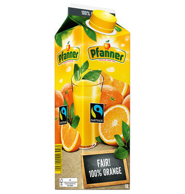 Pfanner Fairtrade Orangensaft 100% 8 x 1 Liter = 8 Liter