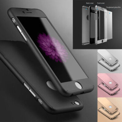 Hybrid 360° Shockproof Case-Tempered Glass Cover For Apple iPhone X 8 8Plus SE 7