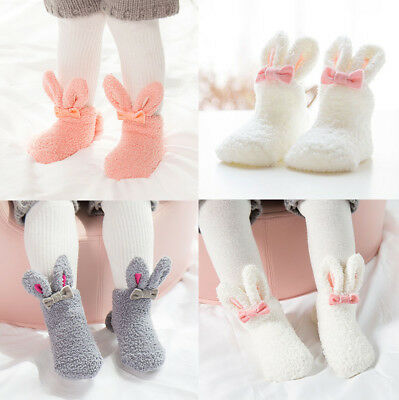 Baby Kids Socks Boys Girls Coral Velvet Thick Warm Soft Lovely Bunny Socks Cute