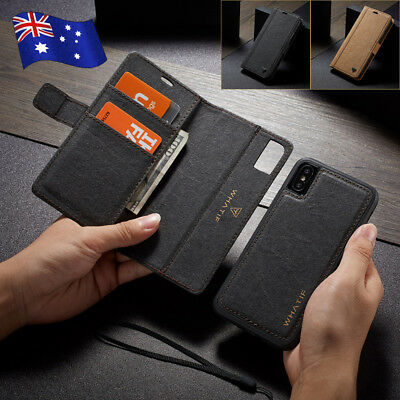 For iPhone XS Max XR 8 7 Plus Removable Leather Flip Wallet Magnetic Case Cover
