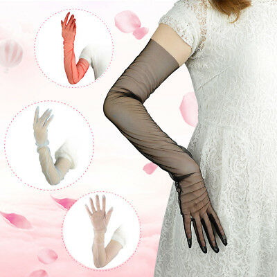 Tulle Long Gloves Lace Semi Sheer Bridal Wedding Dress Gloves Tech Touchscreen