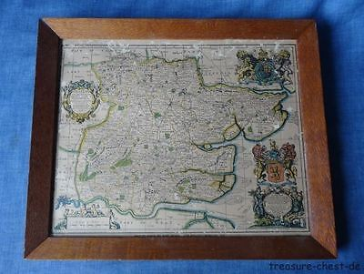 Old Vintage Framed Map of Essex Ogiliby & Morgan 1678, In Silky Oak Frame