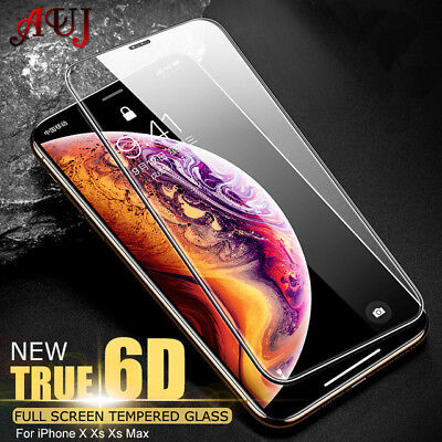 For Apple iPhone XS Max XR X Tempered Glass Screen Protector Real 6D Full Cover