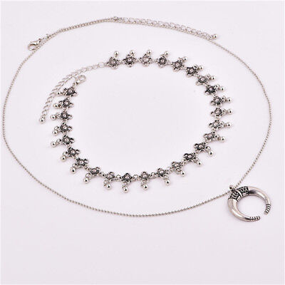 Charming Multi-Layer Beads Tassel Crescent Moon Choker Steam Necklaces Chain N7
