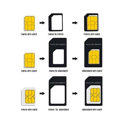 5x Nano SIM Card to Micro Standard SIM Adapter Converter Set For iPhone/Samsung