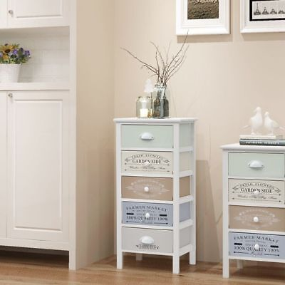 Shabby Chic French Storage Cabinet Unit with 5 Drawers Nightstands Tables Wood