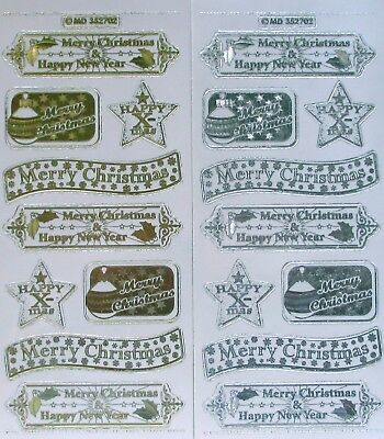Embossed on Clear Merry Christmas PEEL OFF STICKERS Labels Banners Stars
