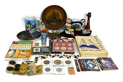 Vintage Junk Drawer Collectibles Lot Coins Buttons Stamps Figurines & More