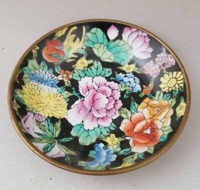 Asian Chinese Cloisonne Enamel Flowers Blossoms Brass Jewelry Dish Bowl