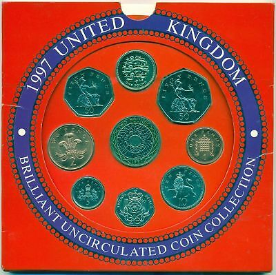 Great Britain official 1997 BU bank set of 9 coins 1997 (MS 121)
