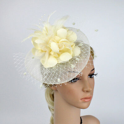 AM_ Women Hat Feather Floral Mesh Hair Clip Cocktail Party Headwear Noted