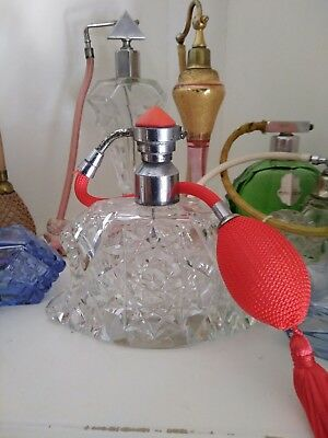 Vintage - Deco - Superb Cut Glass With Red Guilloche Top Perfume Atomiser