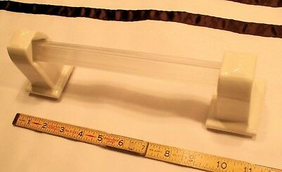 """1 pair *Glossy White* Vintage Ceramic Towel Brackets-Post +24"""" pole by Fairfacts"""