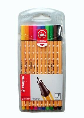 Stabilo Point 88 Pen Fineliner 0.4mm 10 Color Fine Tip Drawing Writing Art Set