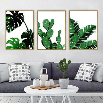 Am_ Nordic Green Plant Leaf Canvas Art Poster Print Wall Picture Home Decor Stri