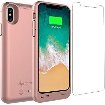 iPhone XS Battery Case  4200mAh Rechargeable Extended Shockproof Rose Gold