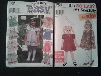 2 Vintage Simplicity Size A Toddler Clothes Pattern 2 - 4 & 2 -6X