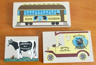 Set of 3 HERSHEY PA Cats Meows TROLLEY  / COCOA TRUCK  /  CHOCOLATE MILK COW