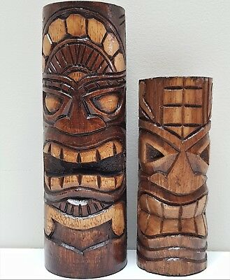 Set Of 2 Tiki  Totem Statues Wood Carved Polynesian Carving Ornaments  Bali 20Cm