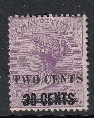 MAURITIUS-1891 2c on 38c on 9d Pale Violet Sg 120  MOUNTED MINT
