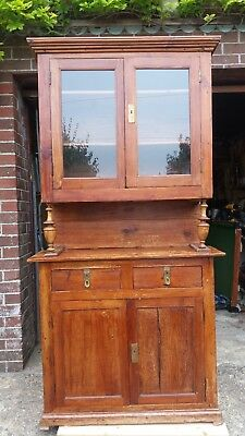 Large Traditional Solid Pine Display Dresser with Glass Top Doors