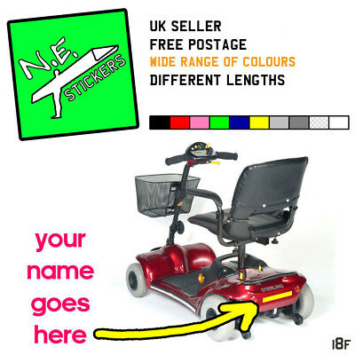 163x30mm personalised number plate sticker for MOBILITY SCOOTER strong vinyl