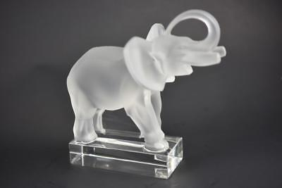Lalique Frosted Crystal Art Glass Elephant Figurine France Signed Trunk Up
