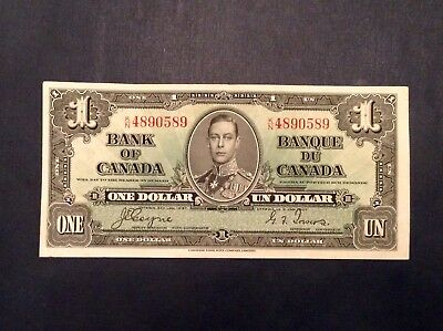 - 1937 Bank of Canada $1 One Dollar George VI  P 58e Coyne / Towers