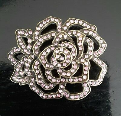 Solid Brass Belt Buckle, Vintage Rose Pattern w/ Pink Rhinestone. Womens