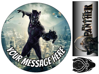 Black Panther Marvel Personalised Edible Icing Cake Topper 3 Sizes 5 Designs