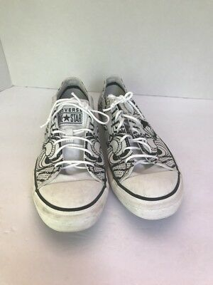 Converse One Star Womens Size 9 Sneakers Lace Up White Black  Rare Abstract
