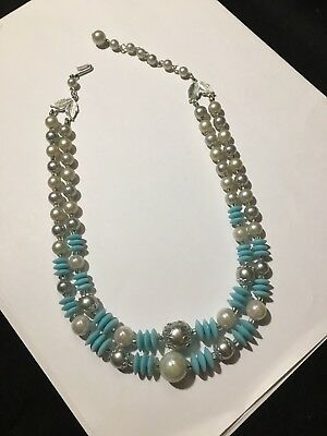 Vintage Japan Signed Faux Pearl Two Strand Drape Necklace Blue Beads Silver Tone