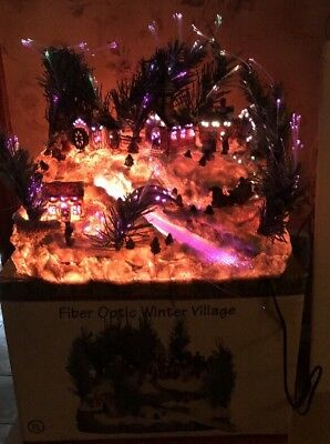 christmas lighted village fiber optic 12 rare mib