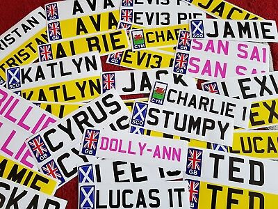 Personalised kids NUMBER PLATE stickers for child's ride On toy car jeep etc