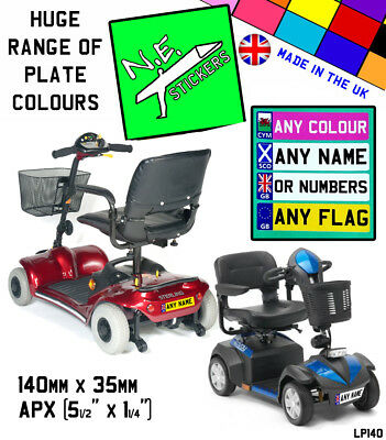 140x35mm personalised MOBILITY SCOOTER Number Plate vinyl decal sticker