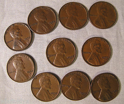 1960-D Small Date Lincoln Memorial Cents Pennys **10 COINS FROM ROLL** whotoldya