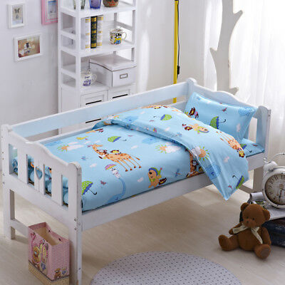 Blue Zoo Animals New Baby Boy Crib Cot Set Quilt Cover Padded Cotton Nursery