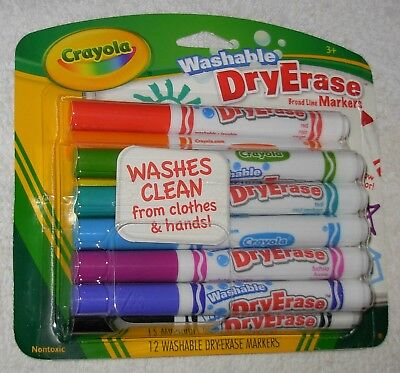 New 12 Crayloa Washable Dry Erase Broad Line Markers - Made in USA