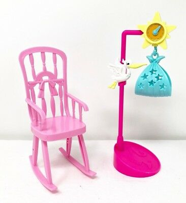Barbie Newborn Baby Pink Rocking Chair U0026 Stork Scale Nursery I Can Be Doctor