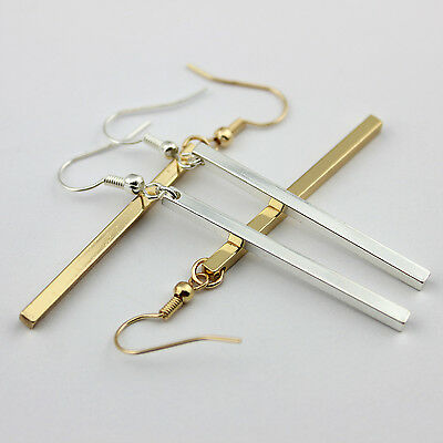 Long Bar Drop Earrings Dainty Gold Women Fashion Long Bar Drop Dangling Earrings