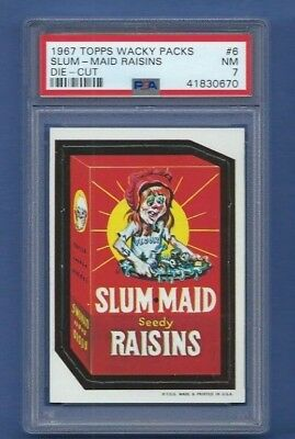 Wacky Packages 1967 Die Cut # 6 Slum Maid Raisins Psa 7 Nm Tough! Pack Fresh