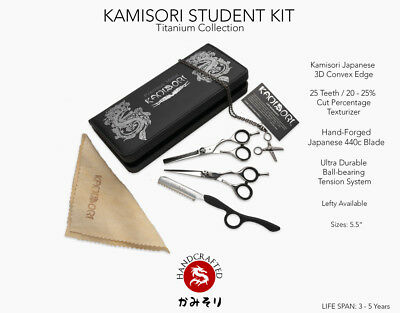"Kamisori Student Set Righty 5.5"" Hair Shear, 25 Tooth Thinner, Razor"